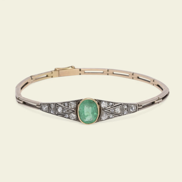 Early 20th Century Emerald and Diamond Bracelet