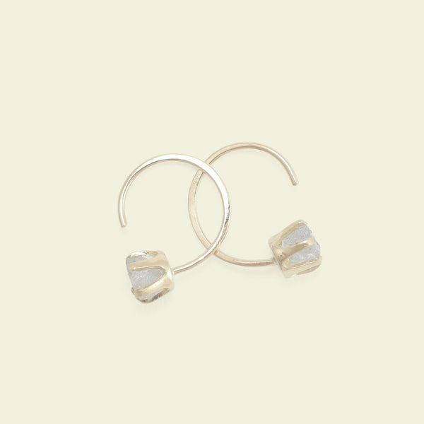 Rough Gem Half-hoops (Aquamarine 14k)