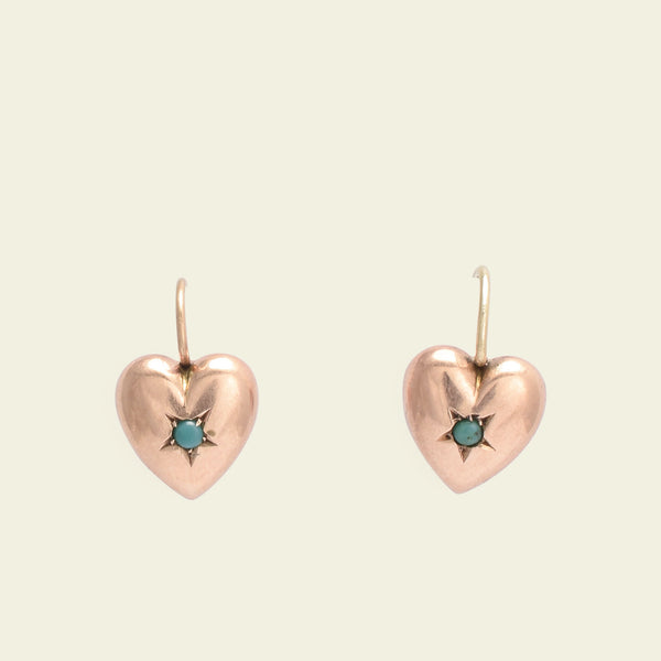 Victorian Rose Gold Puffy Heart Earrings with Turquoise