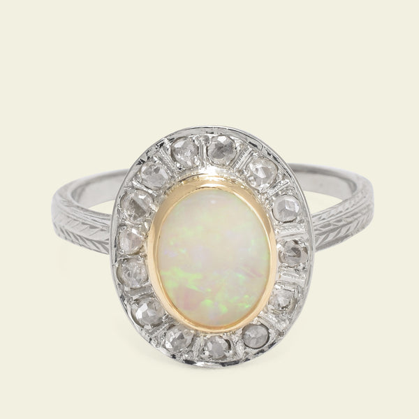 Late Deco Opal and Rose Cut Diamond Cluster Ring
