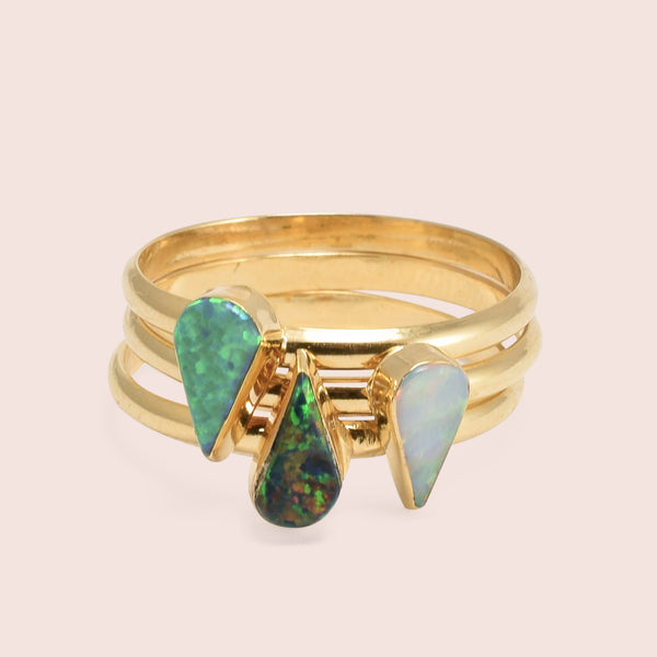 Golden Teardrop Opal Rings