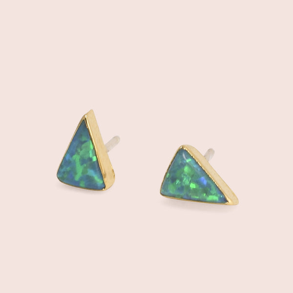 Golden Isosceles Opal Studs (Green)