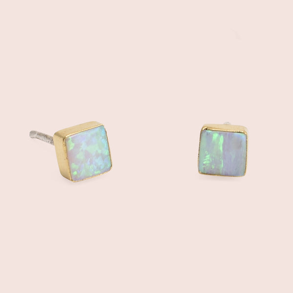 Golden Equilateral Opal Studs (White)