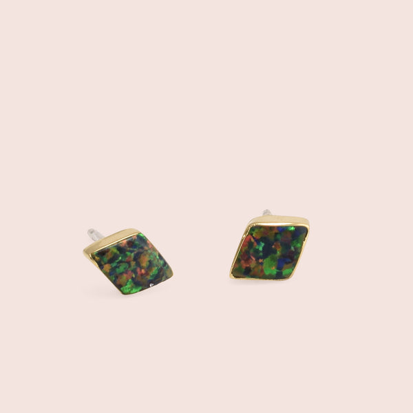 Golden Parallelogram Opal Studs (Black)