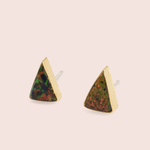 Golden Isosceles Opal Studs (Black)