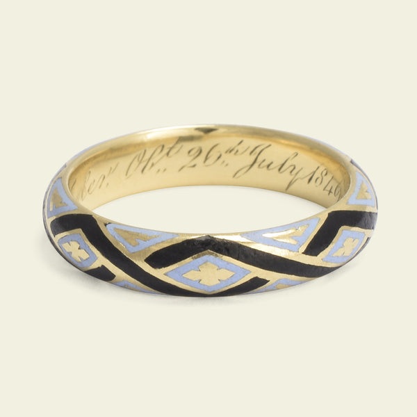 Mid Victorian Pale Blue and Black Enamel Mourning Ring for Edward Clay Tayler