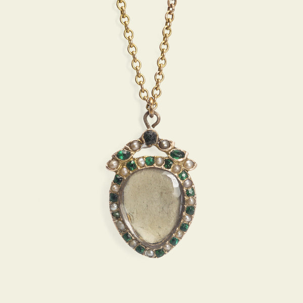 Georgian Emerald and Pearl Heart Locket Necklace