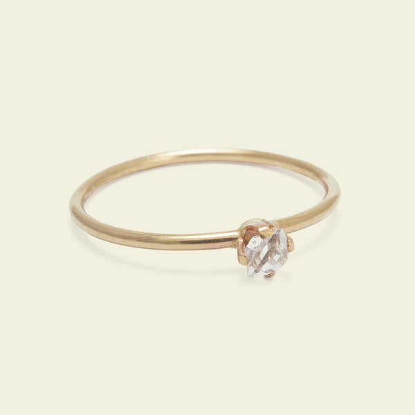 Micro Herkimer Diamond Solitaire Ring