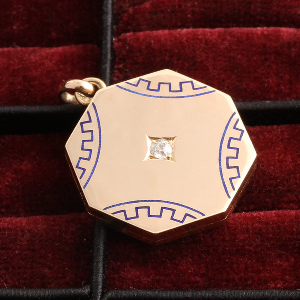 Octagonal Gold Locket with Enamel and Old Mine Cut Diamond