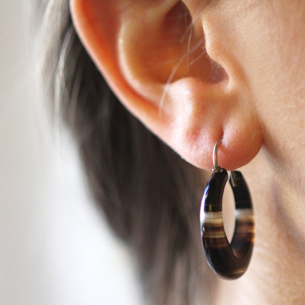 Victorian Banded Agate Hoop Earrings