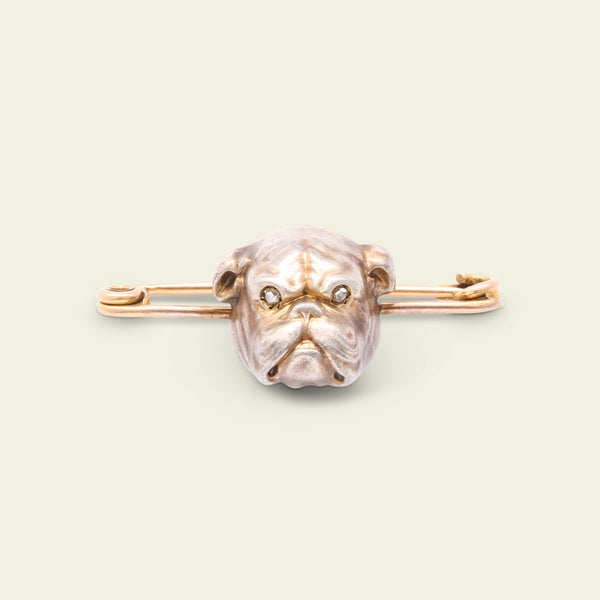 Victorian Diamond-Eyed Bulldog Brooch