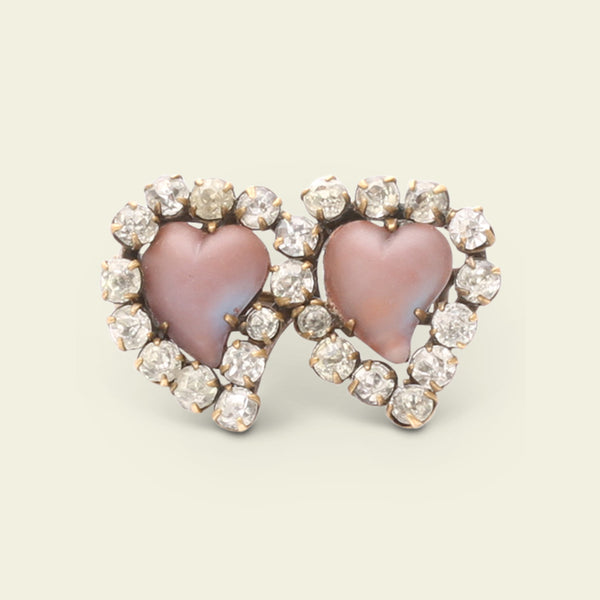 Victorian Saphiret and Paste Double Witch's Heart Brooch