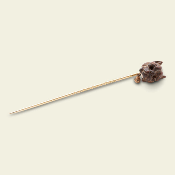 Victorian Carved Wood French Bulldog Stick Pin