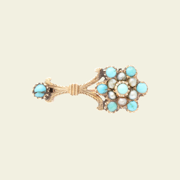 Georgian Turquoise and Pearl Halley's Comet Brooch