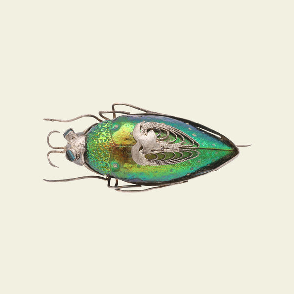 Victorian Beetle Brooch with Green Glass Eyes