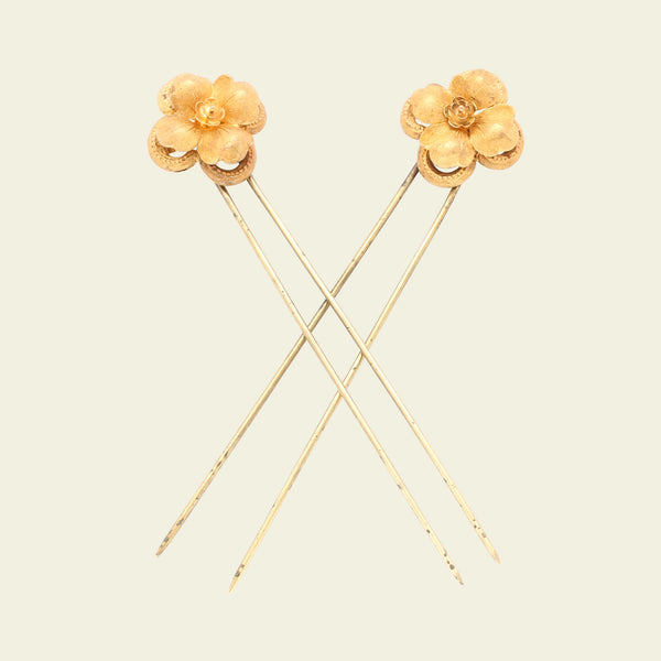 Victorian Gold and Silver Floral Hair Pins