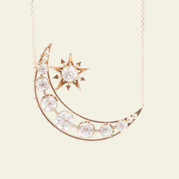Victorian Paste Crescent Moon and Star Necklace