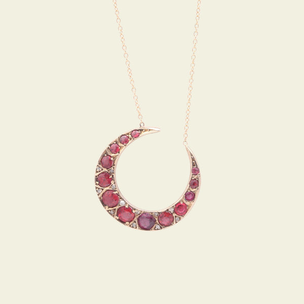 Victorian Garnet, Ruby and Rose Cut Diamond Crescent Moon Necklace