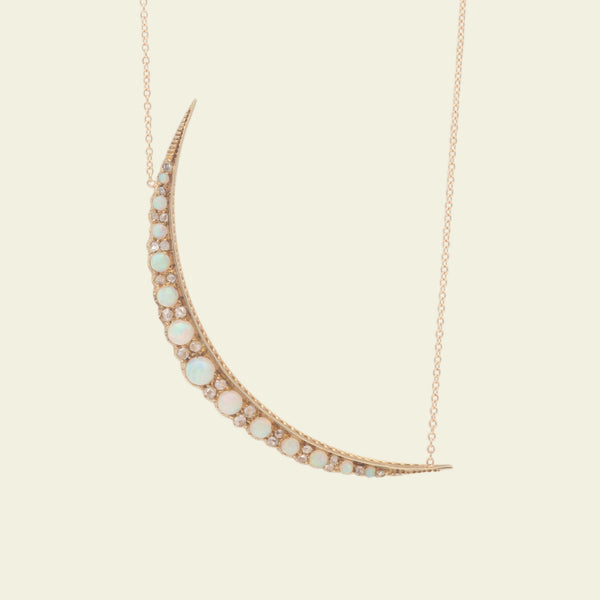 Victorian Opal and Rose Cut Diamond Crescent Necklace