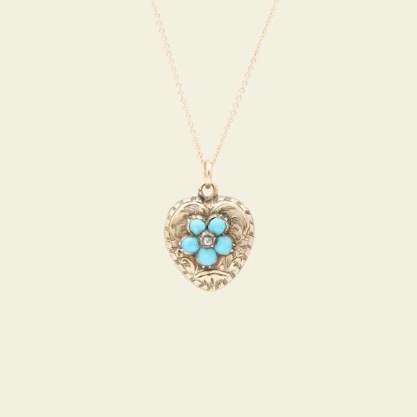 Victorian Heart Locket with Turquoise and White Sapphire Pansy