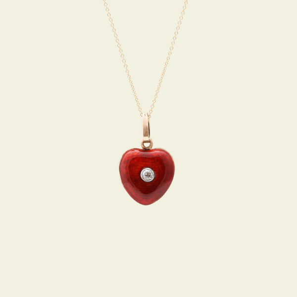 Victorian Red Guilloche Enamel and Diamond Heart Locket
