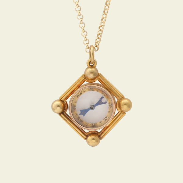 Victorian Gold Compass Fob Necklace