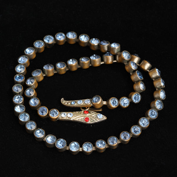 Art Deco Blue Paste Snake Collar