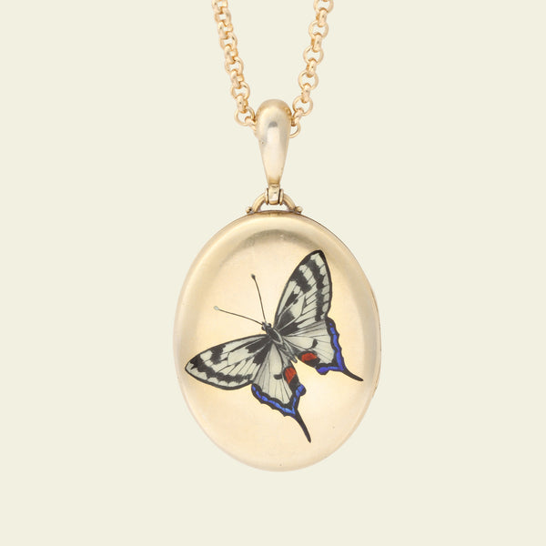 Victorian Gilt Silver Locket with Enameled Butterfly