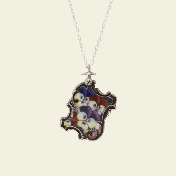 Art Nouveau Silver and Enamel Pansies and Heart Slide Pendant