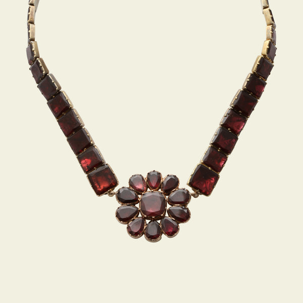 Georgian Floral Garnet Collar
