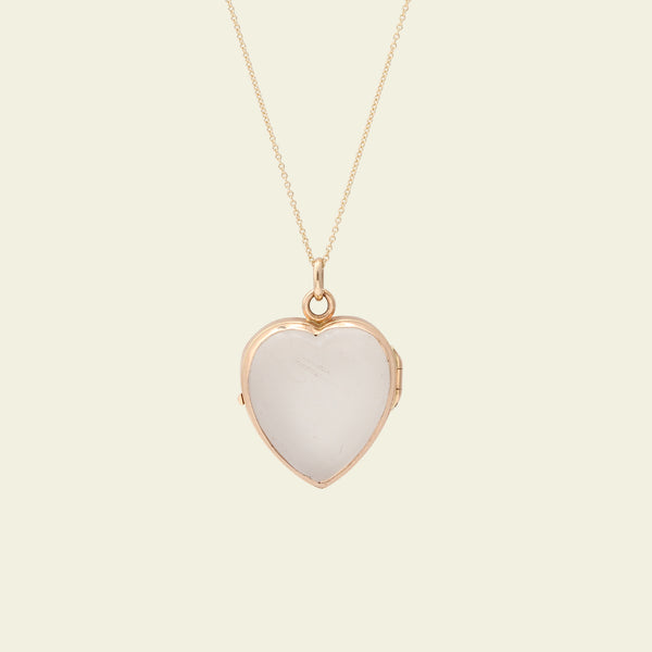 Victorian Gold and Glass Heart Locket Necklace