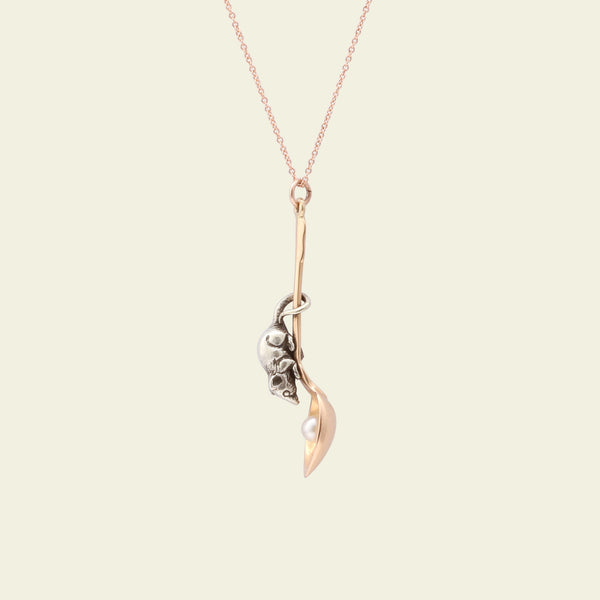 Victorian Mouse and Spoon Charm Necklace