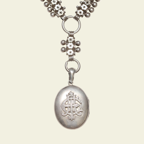 Victorian Heavy Silver Collar with Amity Eternity Infinity Locket
