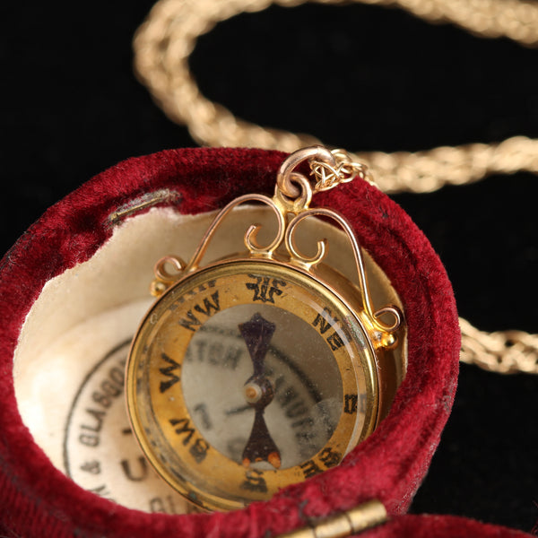 Edwardian Compass Necklace with Scrolled Mount