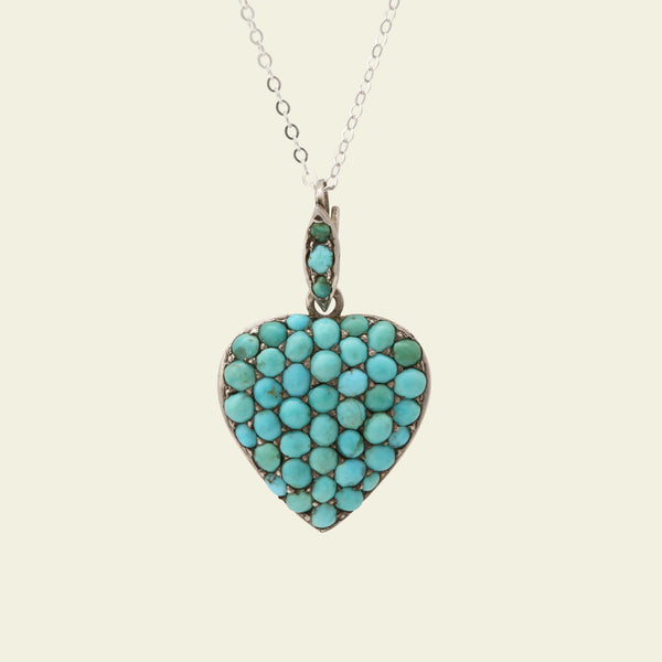 Victorian Silver and Turquoise Pavé Heart Locket