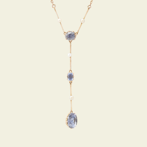 Edwardian Sapphire and Pearl Necklace