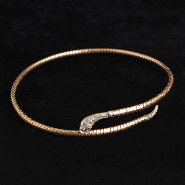 Art Deco Brass and Chrome Serpent Choker
