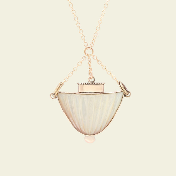 Georgian Mother of Pearl Urn Scent Bottle Necklace