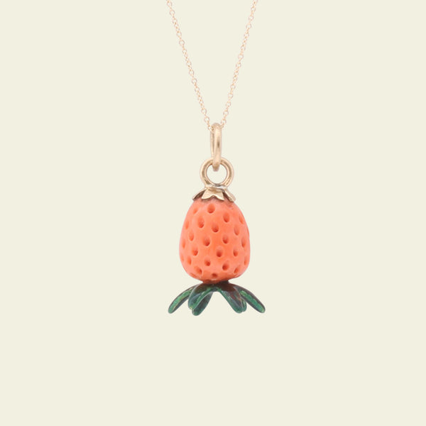 Victorian Carved Coral and Enamel Strawberry Charm Necklace