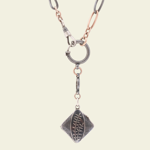 Aesthetic Niello Locket and Chain