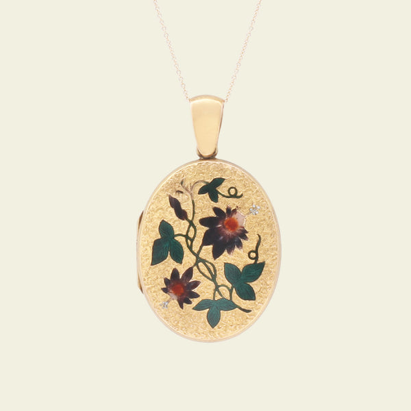 Victorian Gold and Enamel Passion Flower Locket