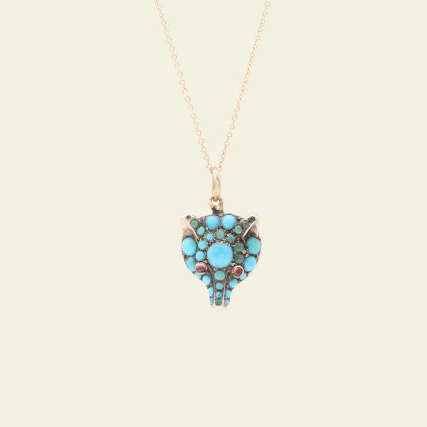 Victorian Turquoise and Garnet Fox Head Necklace