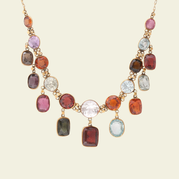 Victorian Harlequin Gemstone Fringe Necklace