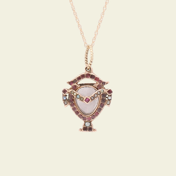 Early Victorian Ruby, Garnet and Pearl Urn Locket