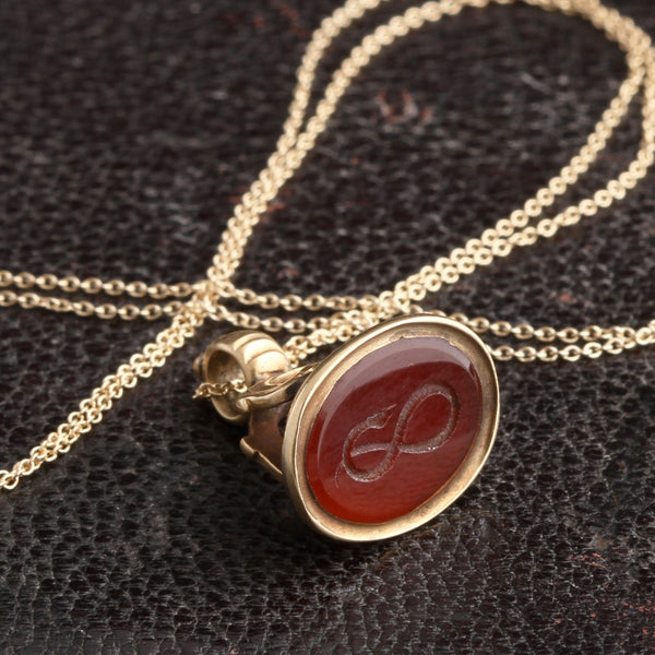Victorian Carnelian Infinity Snake Wax Seal Fob Necklace