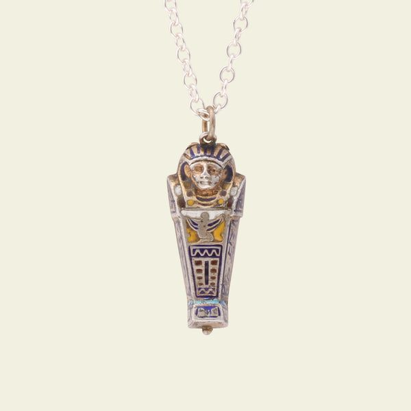 Egyptian Revival Enameled Sarcophagus Charm