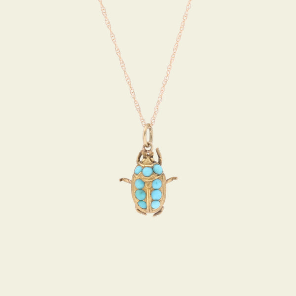 Victorian Turquoise Studded Scarab Beetle Necklace