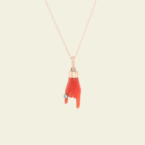 Coral Mano Cornuto with Pinky Ring Necklace