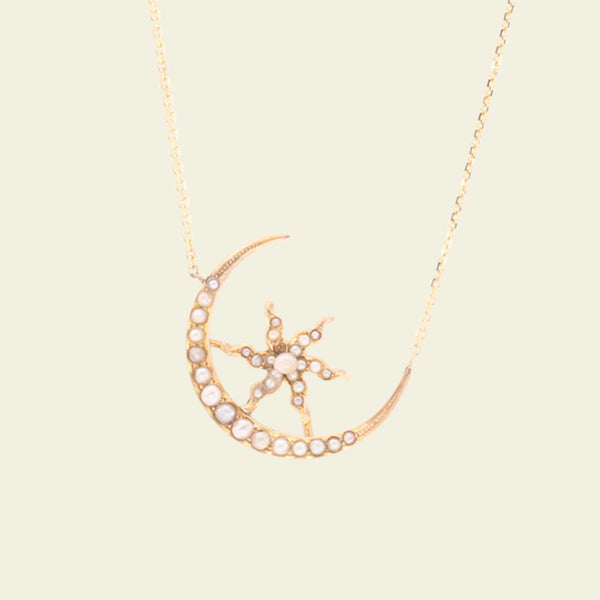 Victorian Seed Pearl Crescent Moon and Estoile Necklace