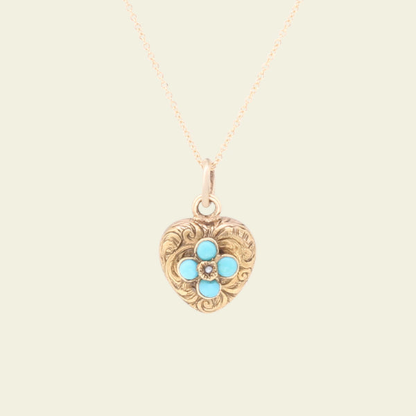 Victorian Heart Locket with Quatrefoil Turquoise and Pearl